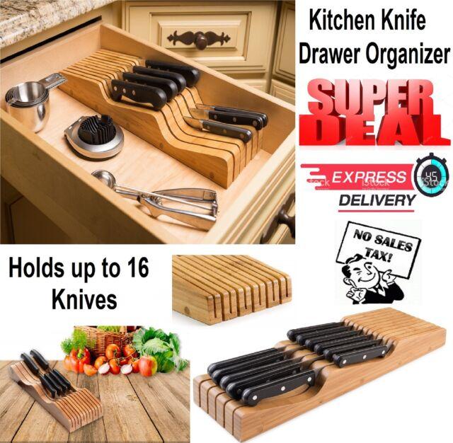 Kitchen Knife Drawer Bamboo Storage Organizer Block Holder Knives Wood Rack  16