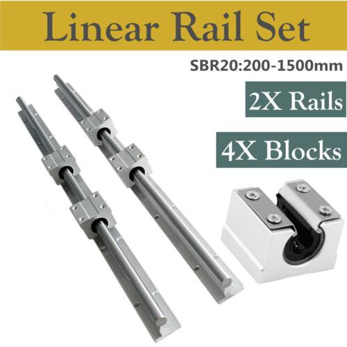 2Pcs Arbre SBR20 200-1500 mm Linear Rail avec 4Pcs SBR20UU Rod Slide Guide Set