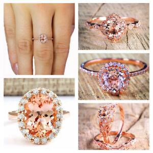 18K-Rose-Gold-Filled-White-Topaz-Diamond-Ring-Wedding-Engagement-Gift-Size-6-10