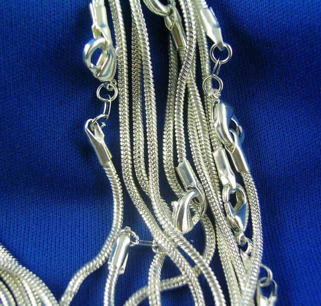 Wholesale Lot/ 5pcs Silver Snake Chain Necklace 16-30 Inch 1.2mm