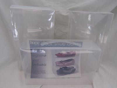 Paquete De Tres TRANSPARENTE Zapato Cajas Artículo: 215473