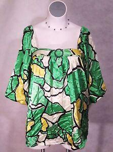 NEW-Green-amp-Yellow-Satin-Work-Career-Top-BIG-Blouse-Balloon-Shirt-1x-2x-3x-14-24