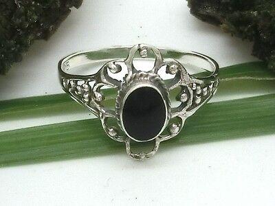Zierlicher 925er Silber Ring mit schwarzen Stein im Jugendstil-Blüten-Design