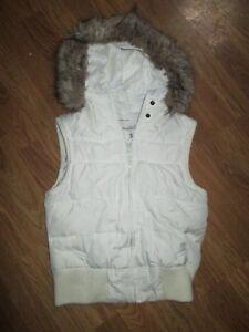 Womens-AEROPOSTALE-Down-insulated-puffy-vest-jacket-w-fur-trimmed-hood-sz-S-Sm
