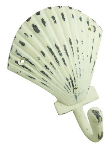 "Nautical Tropic Imports Distressed Cream Iron Seashell Shaped Wall Hook 5.3/""L"