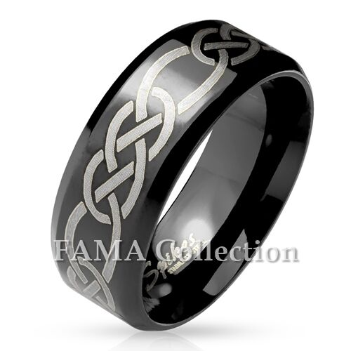 FAMA Tribal Knots Engraved Beveled Edge Black IP Stainless Steel Ring Size 9-13