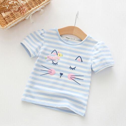 USA Toddler Kids Baby Girl Summer Tops T-shirt Cotton Striped Cat Face Shirts