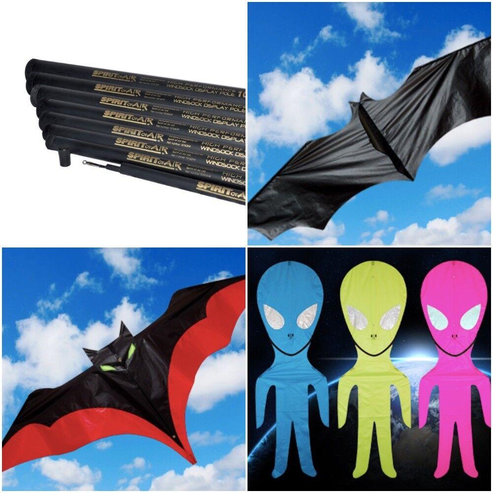Halloween Spirit of Air 6m or 7m Telescopic Pole Flag and Vampire Mini Bat Alien