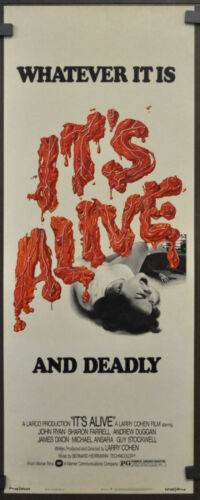 IT'S ALIVE 1974 ORIGINAL 14X36 MOVIE POSTER JOHN P. RYAN SHARON FARRELL