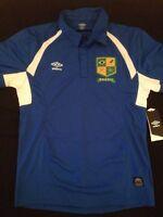 Umbro Brazil Brasil Soccer Polo Jersey Royal Blue Mens Size Small Medium Large