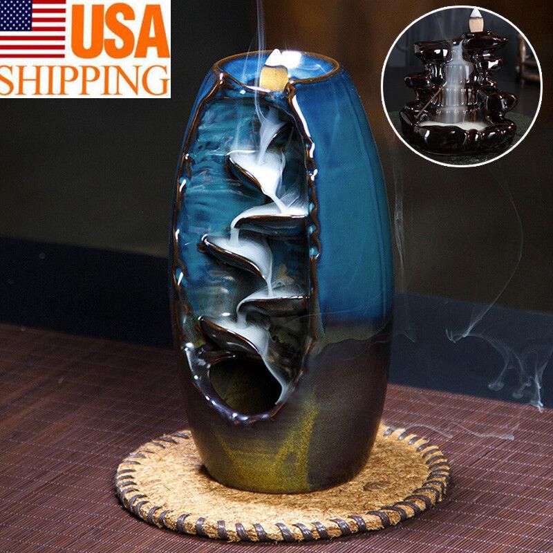Ceramic Glaze Waterfall Backflow Smoke Incense Burner Censer