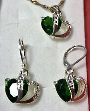 Sterling Silver Created Emerald GEMSTONE Heart Pendant Necklace Earring Set