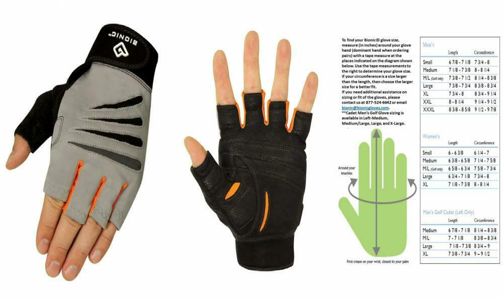 Bionic Glove Men's Cross-Training Fingerless Gloves X-Large, Gray/Orange