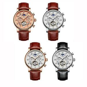 Crystal-Dial-Automatic-Mechanical-Watch-Men-039-s-Leather-Band-Strap-Wrist-Watches