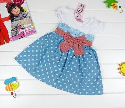 Sweety Baby Kids Girls Cowboy Blue Polka dot Bowknot Dress Clothes Skirt Vogue