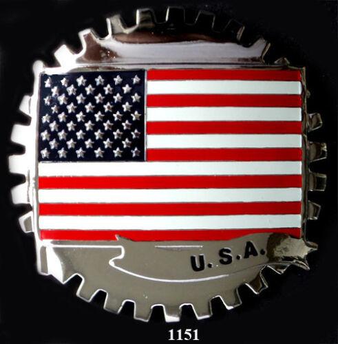 USA FLAG CAR GRILLE EMBLEM BADGES
