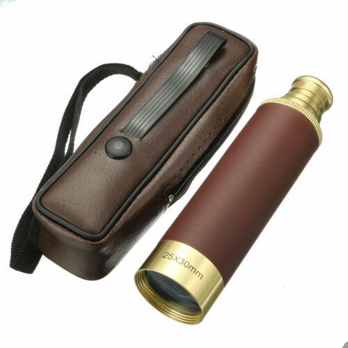Cannocchiale Monocolo 25x30mm Vintage Dorato Pelle Navigazione Viaggi Linq