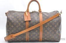 Auth Louis Vuitton Monogram Keepall Bandouliere 45 Boston Bag M41418 LV 32897