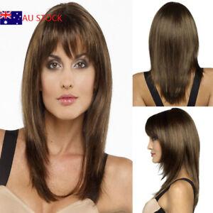 Image is loading Womens-Ladies-Long-Medium-Brown-Straight-Fringe-Bangs- 79b248d00b