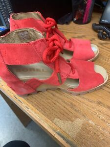 Sorel-Joanie-wedge-sandals-size-7-red-suede-leather-women-039-s