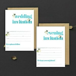 WEDDING-INVITATIONS-BLANK-TIFFANY-BLUE-amp-IVORY-ROSE-DAY-amp-EVE-PACKS-OF-10