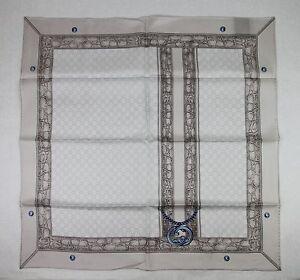 9d3c345db69 New Gucci Pearl Silk Twill Scarf w Blue Interlocking G Chain Print ...
