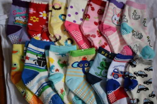 3 Pairs Baby Non Slip Grip Socks Toddler Girl Boy 6-12 Months