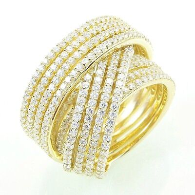 Pave Signity CZ Yellow Sterling Silver Pave 12 Row CrossOver Eternity Band Ring