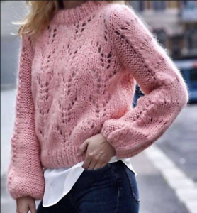 Hand-Knitted-Womens-Mohair-Sweater-Crew-Neck-Jumper-Pullover-Thick-Winter-Tops