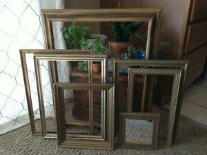 Vintage Gold Wood Ornate PICTURE FRAME Lot  Recycle Art Craft Deco Estate Sale 7