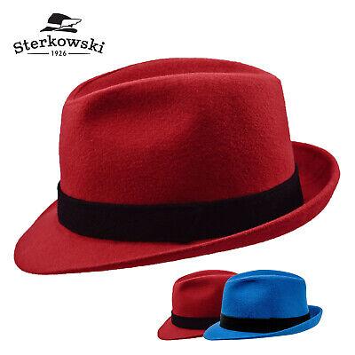 Sterkowski ELWOOD Wool Trilby Hat Narrow Brim Fedora Vintage Casual