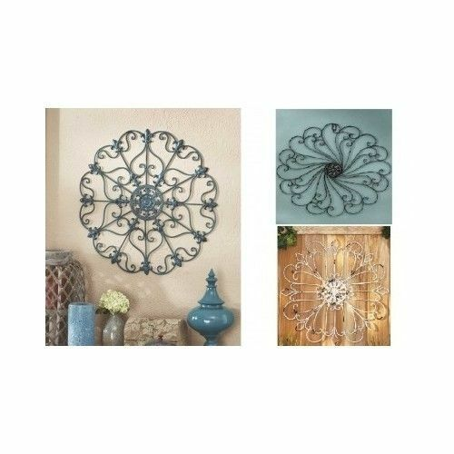 Scrolled Wall Round Metal Medallion Entryway Dining Living Decor Iron Home Art