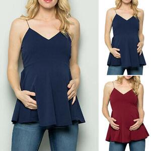 Women-Maternity-Pregnancy-Solid-Tank-Vest-V-Neck-Sleeveless-Tops-Blouse-T-Shirt