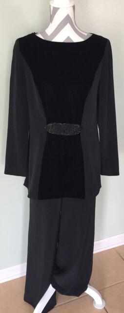 OLEG CASSINI Black Tie Sequin Velvet Front Formal Party Top Pants Outfit Sz 10