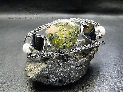 Armreif, 925er Silber Armspange, Unakit, Black Onyx, Perle, Edelstein, neu