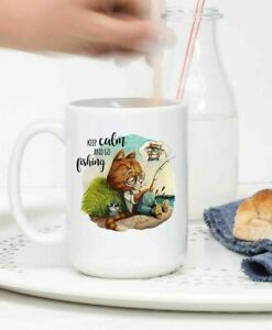 Cat Mug Keep Calm And Go Fishing Cup Best Gift For Friend And Family Funny Cup