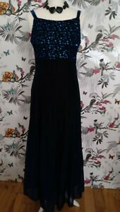 Midnight-Blue-Sleeveless-Maxi-Dress-Sequins-Size-14-Victorian-Goth
