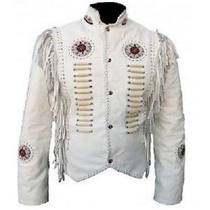 beads Women Western Fringe Bones Ladies Coat Jacket lady Suede Cow Leather Wear P6wdrCqPp