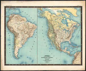 Carte Amerique Latine Avec Fleuves.1858 Rare Carte Lithographie Amerique Mers Et Fleuves Etats Unis
