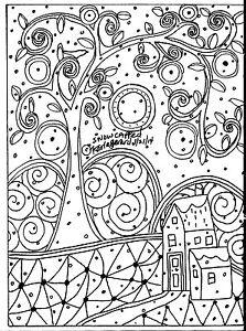 RUG-HOOK-CRAFT-PAPER-PATTERN-Snow-Capped-FOLK-ART-PRIMITIVE-Karla-Gerard