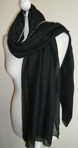 Black-Diamante-Edged-Wrap-Shawl-Oversized-Scarf-Pashmina-Lightweight-Evening