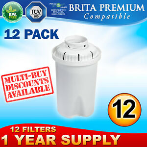 12 x FL601 Premium Water Filter Compatible with Brita Classic Jug Cartridge