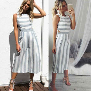 2a1e4b6b1f4c Image is loading Women-Bodysuit-Sleeveless-Striped-Jumpsuit -Casual-Clubwear-Wide-