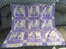 Crinoline Lady Purple Vintage Hand Made Embroidered Blanket Wall Hanging 42X46