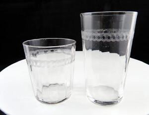 TIFFIN-2-PIECE-OPTIC-GLASS-NEEDLE-ETCHED-LOOPS-2-1-2-034-AND-3-5-8-034-TUMBLER-GLASSES