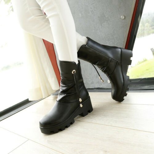 Womens Ankle Boots Slouch Block Heels Platform Metal Decor Pull On Casual Shoes