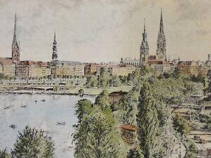 Richard-ADLER-1907-1977-Farbradierung-HAMBURG-BINNENALSTER