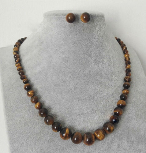 6-14 mm Natural Piedra de Ojo de Tigre Amarillo granos collar de plata 925 pendiente JN1780