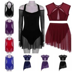 Adult-Women-039-s-Long-Sleeve-Ballet-Leotard-Dance-Gymnastics-Dress-Lyrical-Skirts