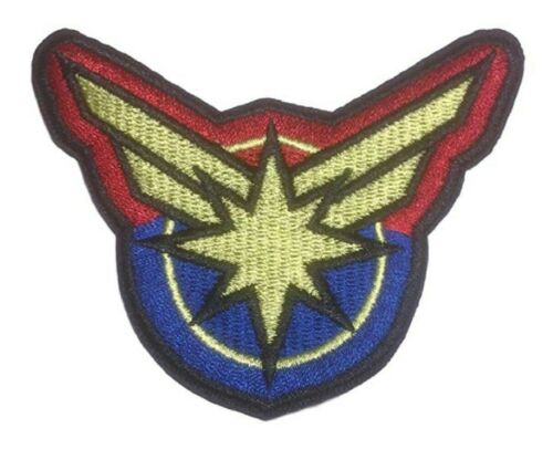 "Captain Marvel Burst Logo 3/"" Wide Embroidered Iron on Patch"